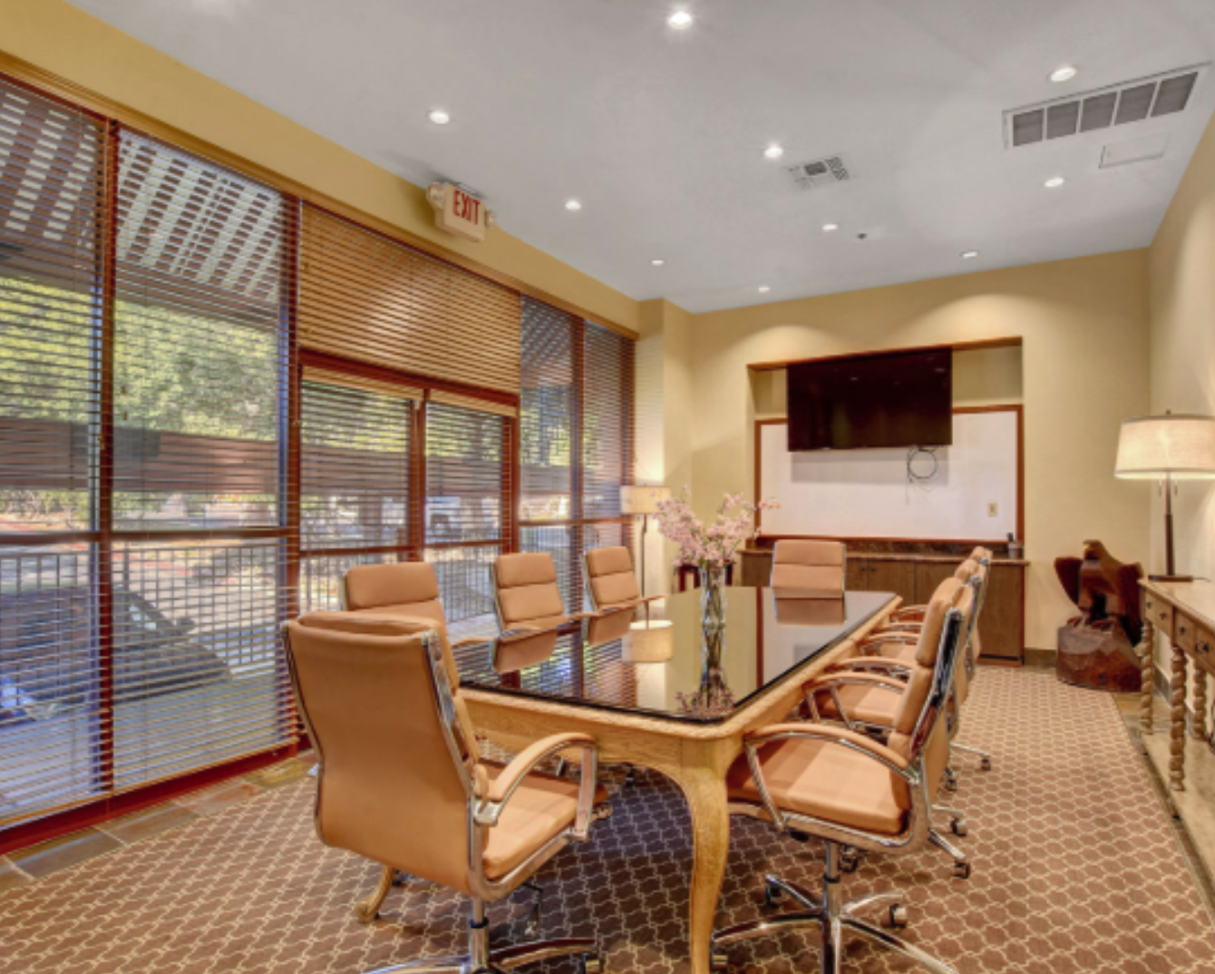 Conference Room with window view at Lakeside Business Suites